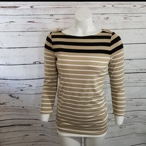 ⚡ The Limited factory Tan Black Stripe Sweater S